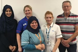 Diabetes Specialist Nurse Koseen Fiaz,Support Worker Fida Hussein, Diabetes Specialist Nurse Sarah Saville and Diabetes Specialist PodiatristAmanda Wildgoose with Ken Alden