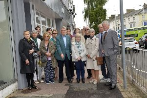 Marie Hennelly with Councillors and campaigners who want the county council to improve pavements in Eastbourne (Photo by Jon Rigby)