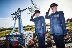 The unveiling of the statue at Flying Fields in Southam.