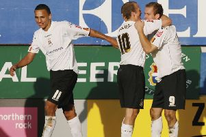 Rowan Vine celebrates scoring against Leeds for Luton back in October 2006