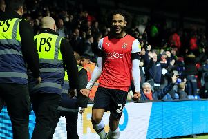 Izzy Brown celebrates his first Luton goal this evening