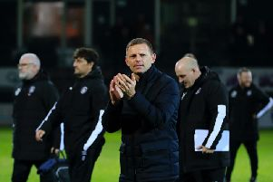 Hatters boss Graeme Jones celebrates Tuesday night's win over Charlton