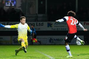 Izzy Brown scores his first goal for the Hatters on Tuesday night