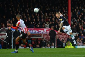 James Collins saw this shot blocked at Brentford on Saturday