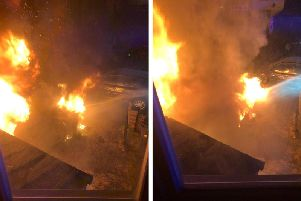 Images of the fire taken from inside the home