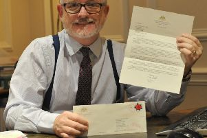 Shoreham College headmaster Richard Taylor-West with the letter from Tom Wolf, governor of Pennsylvania