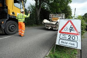 Surface dressing works on Horncastle area roads.