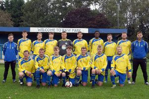 Market Rasen FC pictured in the new kit, sponsored by Lancaster Butchers and NB Law with new joint team managers Thom Lingard and Ian Smith