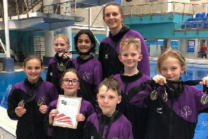 The Luton Diving Club Talent Games team with coach Kirsteen Mitchell