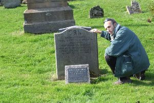 Guy Beiner at the graveside of William Orr