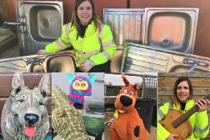 Rachel Townsend, from Oxfordshire County Councils waste and recycling team, with a selection of strange items left at recycling centres. Photos courtesy of the council