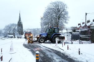 A snow plough in Brooke Park last Wednesday. Picture by Lorcan Doherty / Press Eye