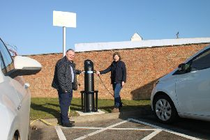 Coun Steve Kirk with Judy Chapman at Skegness' Swimming Pool car park.