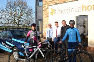 From left:, Cyclist Rebecca Durrell (last year's women's winnert), David Newton, Managing Director of Chestnut Homes; Rob Newton, Construction Director of Chestnut Homes; Dan Ellmore, Lincoln Grand Prix event, organiser and cyclist Jo Tindley EMN-190323-071138001