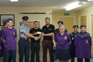 Richard Cameron went along to Cadet HQ to present the cadets with a new sports kit and a cheque for �200