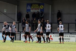 Corby Town's players look dejected after they conceded one of the goals in their 4-1 home defeat to Welwyn Garden City. Pictures by Alison Bagley