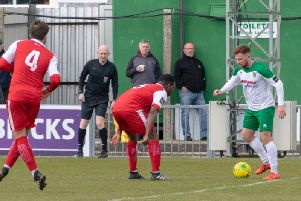 Theo Widdrington on the ball against Harlow / Picture by Darren Crisp