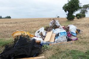 One of several fly-tips left in fields around the North Kesteven area.