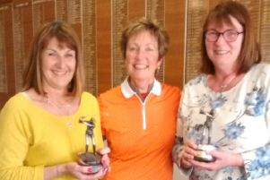 Gemini Trophy winners, from left, Bridget Holmes, Mel Gregory (lady captain) and Aileen Sellers EMN-190423-092406002