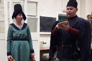 Re-enactors Craig and Michelle Wrenn, who are part of the Lincoln Castle Garrison, spoke to North kelsey WI abut all things medieval EMN-190422-164212001