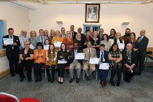 Sleaford Town Awards hosted by Sleaford Town Council and Sleaford Standard. All the winners with Mayor of Sleaford Grenville Jackson and Sleaford Standard News Editor Andy Hubbert. EMN-190426-105914001
