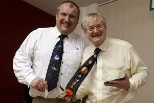 Club chairman Paul Cotton (left) with Paul Money,  comparing out of this world ties at last years event. EMN-190105-093518001