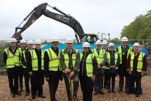 Officially breaking ground at the Gansborough Road leisure centre site EMN-191005-062837001