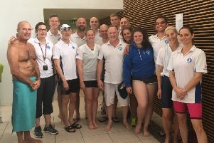 The Hastings Seagull Swimming Club squad at the Erith Masters Open Meet