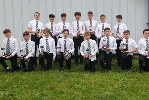 The team at the league awards evening. From left, back - Chris Allen, Obie Casson, Josh Nichols, Andrew Marriott, Luke Griffiths, Jake Christie,'Luke Bennett; front - Alex Aistrop, Callum Clark, Ellis Annibal, Philip Rands-Bett, Matty Morfitt, Josh Trushell, Charles Fox, Jack Edser EMN-190524-101807002