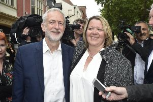 Jeremy Corbyn and Lisa Forbes in Peterborough city centre the morning after her election victory