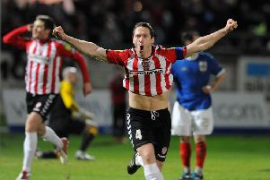 Barry Molloy scores during Derry City's Setanta Cup win over Linfield at the Brandywell, in 2012.