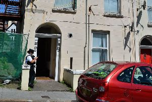 The exterior of the property on Great James Street where the bodies of a man and a woman were discovered on Sunday morning last. DER2919GS-002