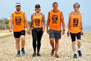 Paul Shepherd (3rd from left) tried to kill himself on Bognor beach - setting out now to walk to London to celebrate his recovery. Pic Steve Robards SR1918507'Left to right, Jon, Jenna, Paul and Phil.