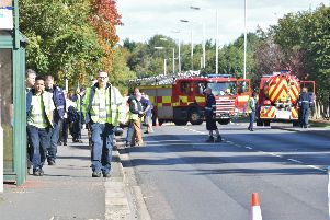 Staff being evacuated after a previous gas leak in Morley Way, Woodston EMN-170610-132518009