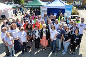 Centre, Chairman of Harborough District Council Barbara Johnson during the volunteers fair on the Square in Market Harborough. PICTURE: ANDREW CARPENTER