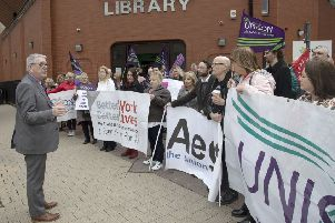 Trade unions representing education workers in Northern Ireland protest at the Londonderry office of the Education Authority in April 2018 to highlight their common concerns over Special Educational Needs provision. The protest was timed to coincide with the monthly board meeting of the EA. Photo: Kevin Cooper.