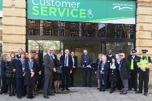 City council staff outside the Customer Service Centre in Bridge Street