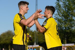 Jack Edwards and Josh March celebrate on Saturday with Brakes seemingly cruising towards the next round.