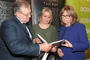 Joe Duffy pictured at Easons in O'Connell Street Dublin at the launch of the book Children of the Troubles which he co wrote with Freya McClements (centre). The book was launched by Mary McAleese (right). 'Pic by Brian McEvoy