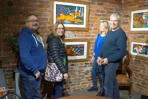 Artist Richard Chuck and gallery owner Sarah Lamballe (right) welcome visitors to the exhibition at Bricktree Gallery EMN-190411-064546001