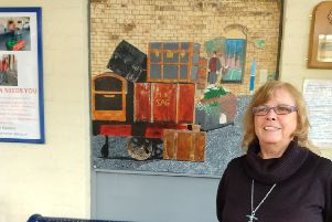 SAG volunteer Viv Pope with the new piece of art work she has created EMN-191211-111426001