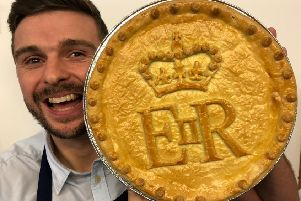 Baker Phil Turner with one of his pies for Buckingham Palace