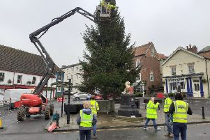 Caistor Christmas tree is in place ready for tomorrow's switch on