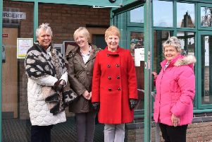 Pictured from left:  Marilyn Moore, Julie Cripps, secretary; Barbara Bartlett, the group's chair, and Elaine Eccles.