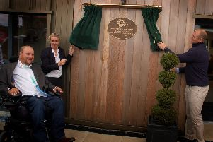 Unveiling of the plaque at the official opening of the Get Busy Living centre at Burrough on the Hill EMN-180210-172412001