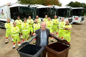 Melton Council leader, Councillor Joe Orson, with the authority's new refuse lorries EMN-181210-152255001