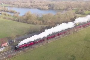 A drone image of the majestic Duchess of Sutherland passing by Frisby Lake en route from London to York'DRONE PHOTO MARK NAYLOR (Mark @ Aerialview360) EMN-181123-105619001