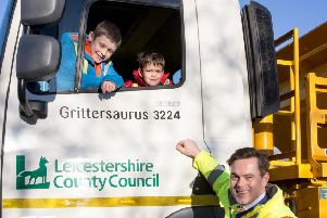 Winning entrants last year, Ben Rutherford and Easton Szymanski from Asfordby Hill Primary School, with Councillor Blake Pain sat in Grittersaurus PHOTO: Supplied