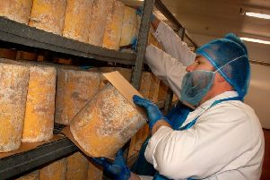 Cheeses are turned daily during the maturation stage at Long Clawson Dairy EMN-181218-180252001