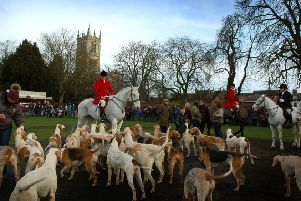 Members of the Quorn Hunt meeting in Melton's Play Close on New Year's Day a year ago EMN-181231-112503001